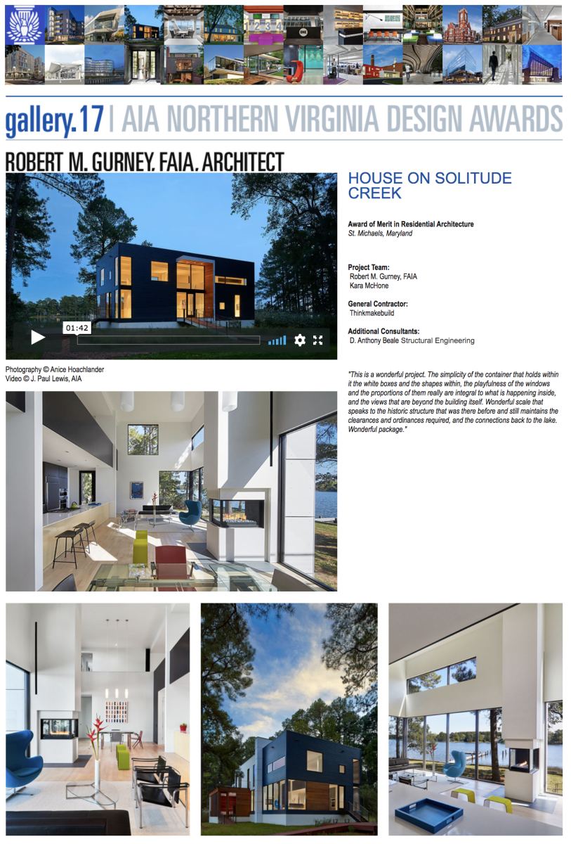 AIA of Northern Virginia 2017 Award of Merit in Residential Architecture to Robert Gurney, FAIA