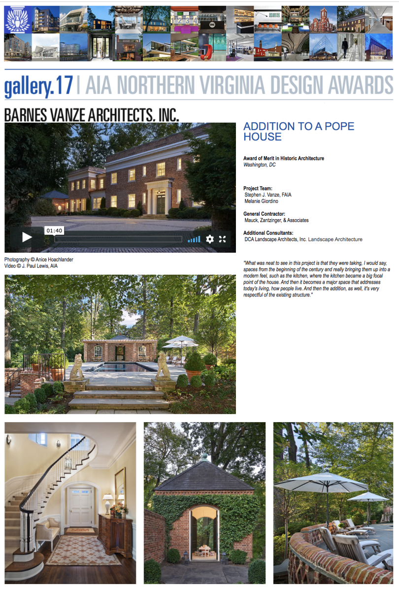 AIA of Northern Virginia 2017 Award of Merit in Historic Architecture to Barnes Vanze Architects, Inc.