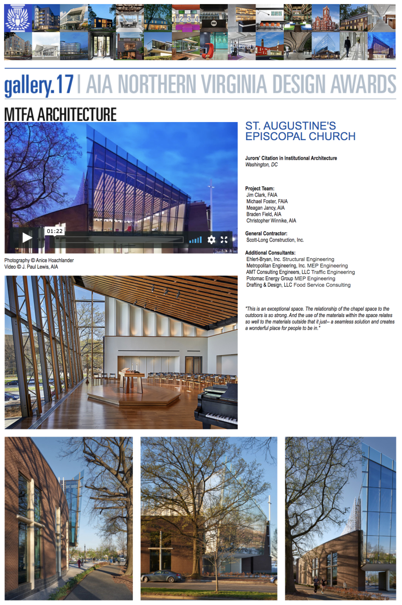 AIA of Northern Virginia 2017 Juror's Citation in Institutional Architecture to MTFA Architecture