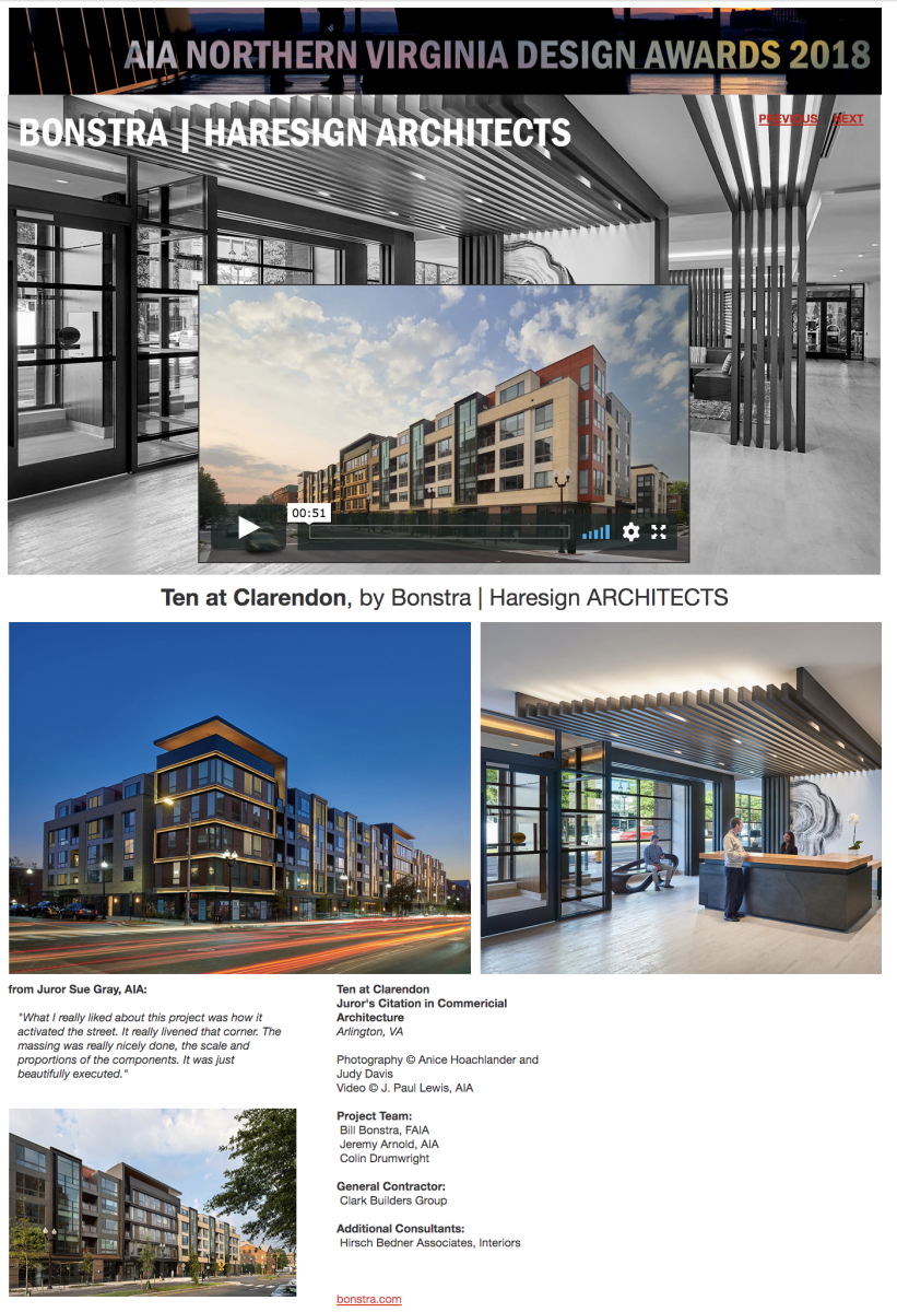 AIA of Northern Virginia 2018 Juror's Citation in Commercial Architecture to Bonstra | Haresign Architects