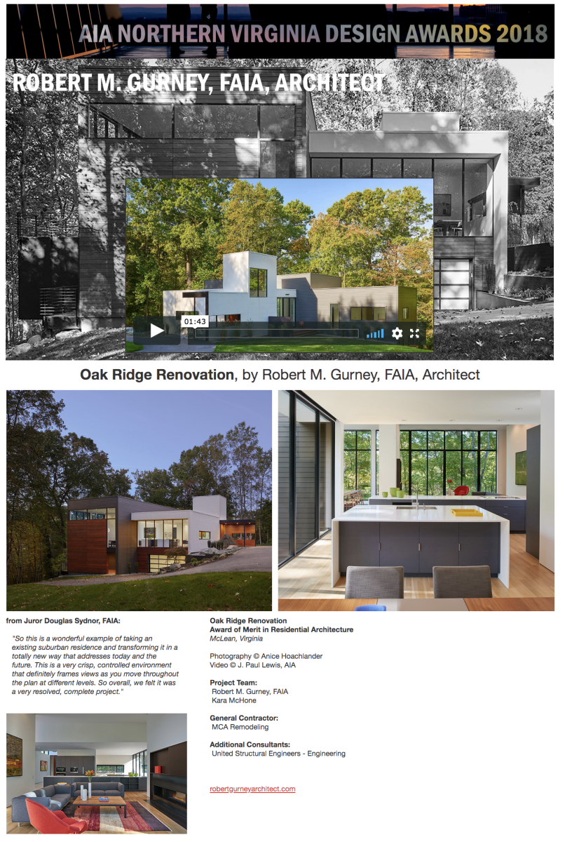 AIA of Northern Virginia 2018 Award of Merit in Residential Architecture to Robert Gurney, FAIA