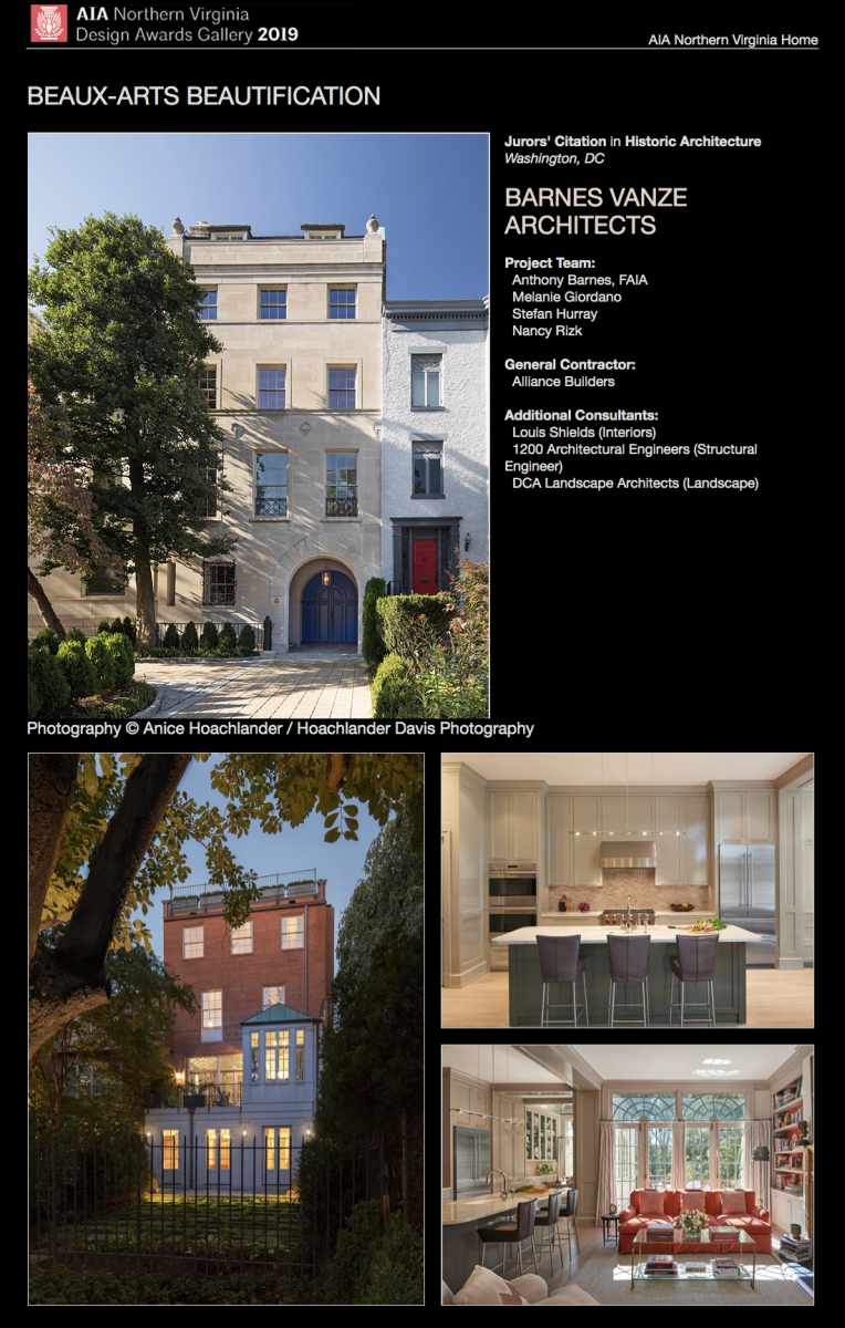 AIA of Northern Virginia 2019 Juror's Citation in Historic Architecture to Barnes Vanze Architects