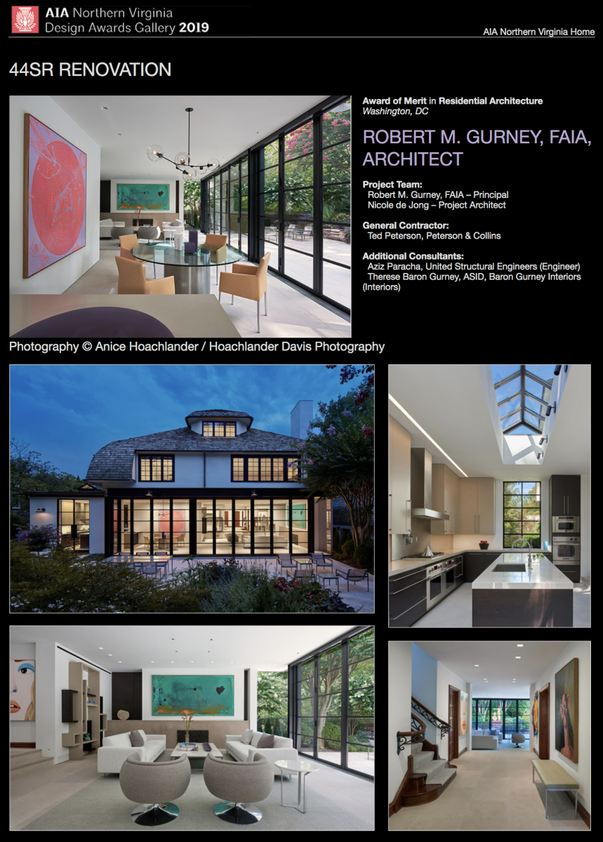 AIA of Northern Virginia 2019 Award of Merit in Residential Architecture to Robert Gurney, FAIA