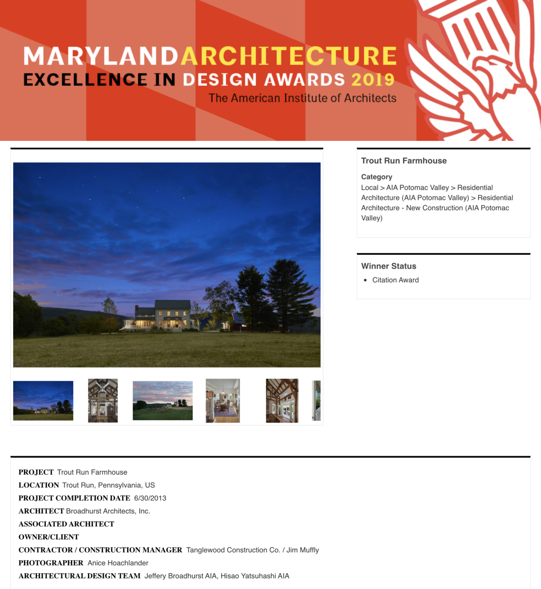 AIA of Potomac Valley 2017 Citation Award in Residential Architecture to Broadhurst Architects, Inc.