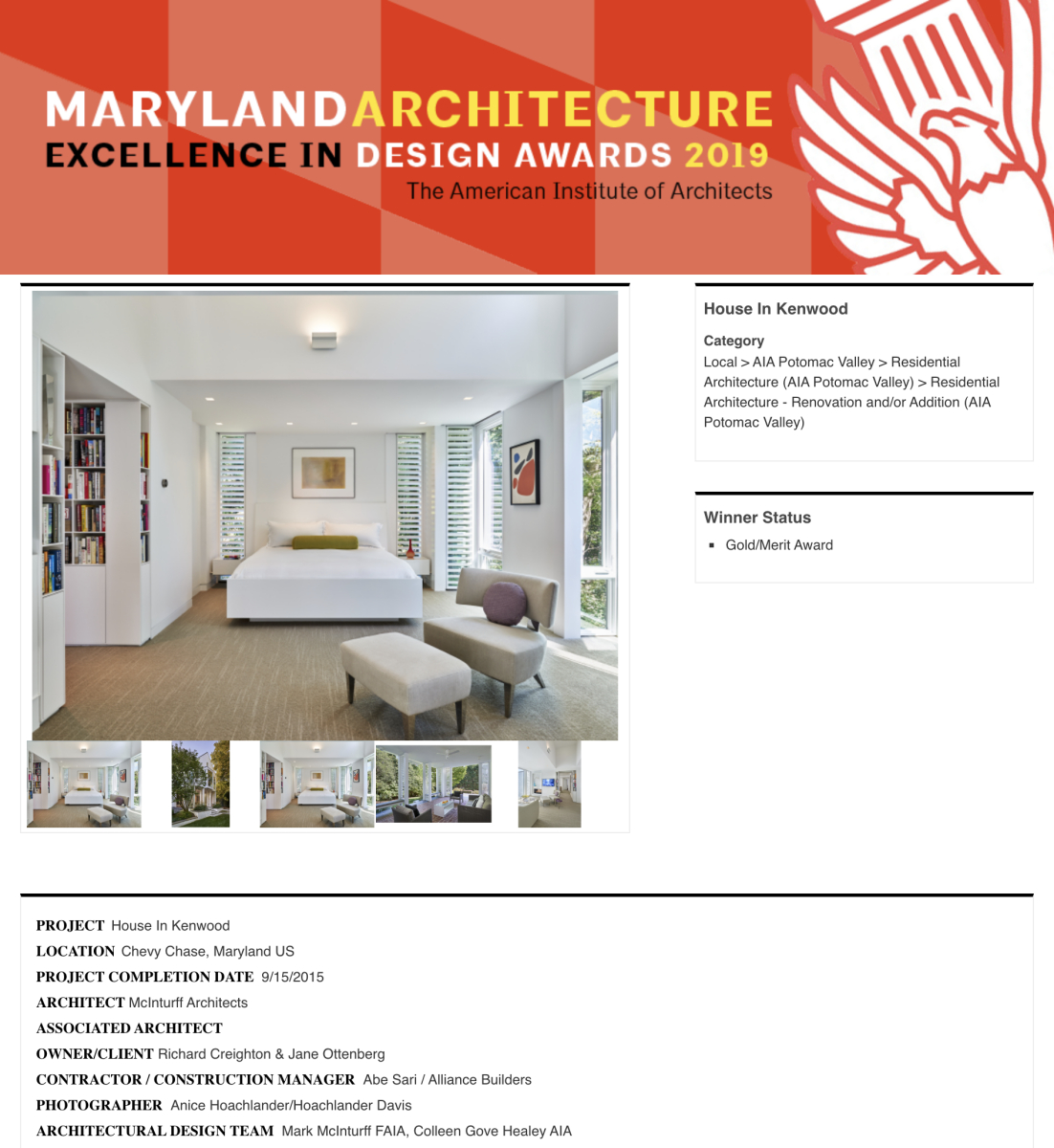 AIA of Potomac Valley 2017 Gold Award of Merit in Residential Architecture to McInturff Architects