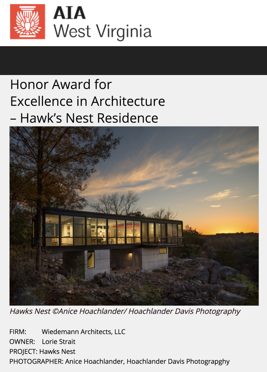 AIA of West Virginia 2017 Award for Excellence in Architecture to Wiedemann Architects