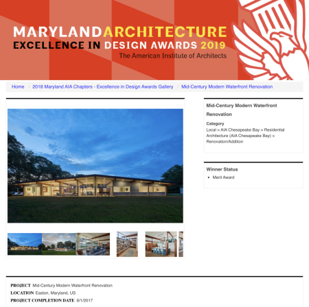 AIA of Chesapeake Bay 2018 Excellence in Design Award to Wiedemann Architects